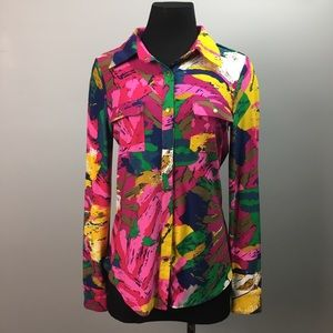 BCBGMAXAZRIA pop of color button down